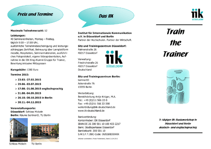 Train the Trainer - Informationen 2015 herunterladen